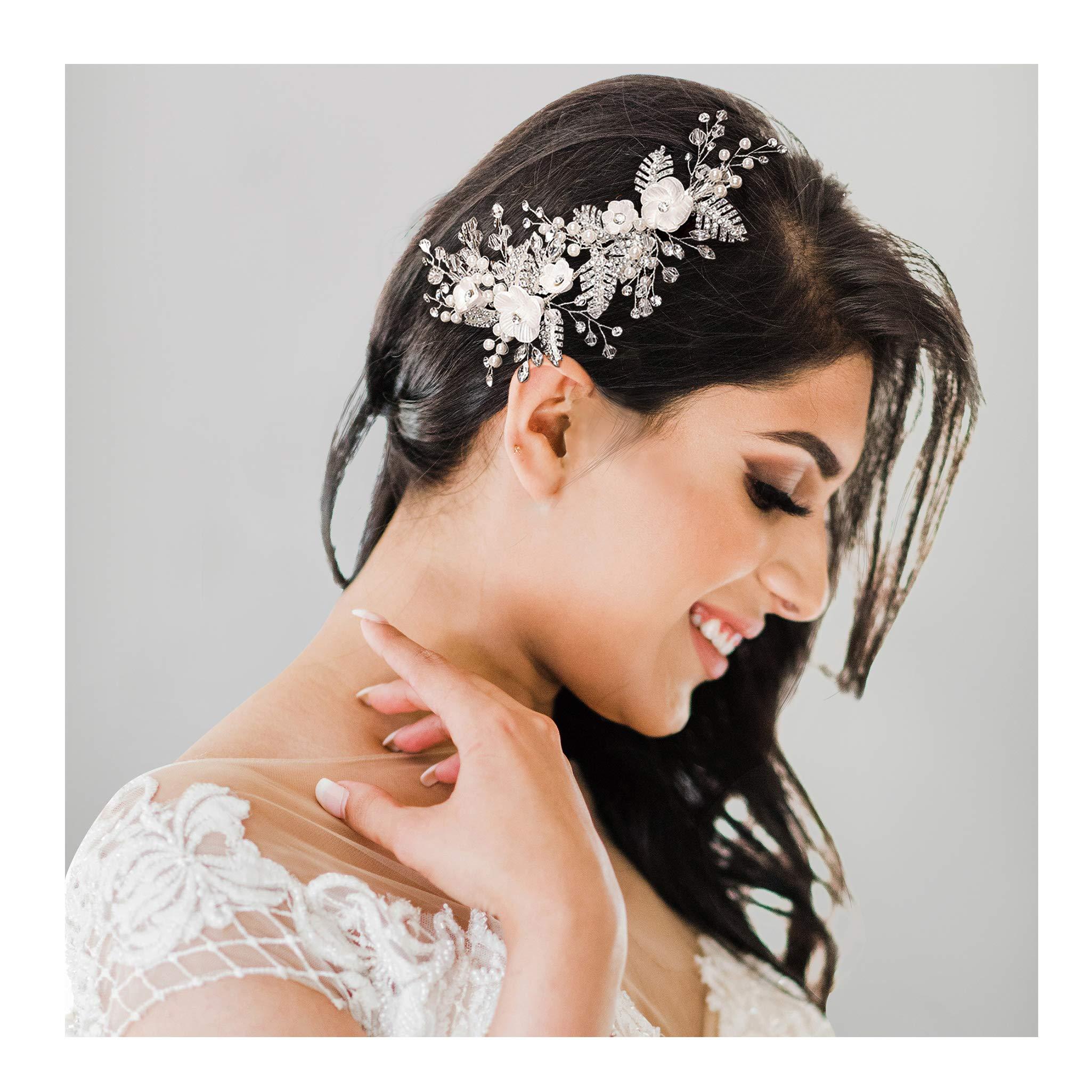 SWEETV Handmade Wedding Hair Clip Barrette Comb,Rhinestone Floral Bridal Wedding Hair Accessories for Brides Silver by SWEETV
