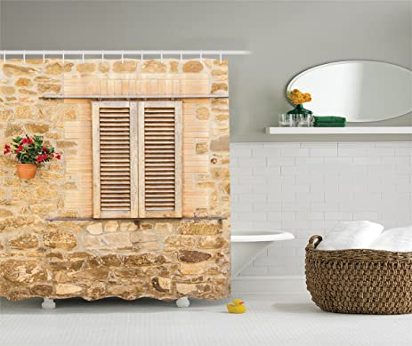 Amazon.com: Tuscan Shower Curtain by Lunarable, Rustic Stone House ...