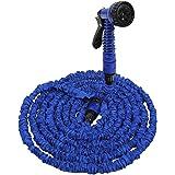 Amzdeal Tuyau d'Arrosage Extensible 15m / 50FT , Tuyau Arrosage Retractable avec Pistolet d'arrosage de 7 Fonction de Haute Pression - Bleu
