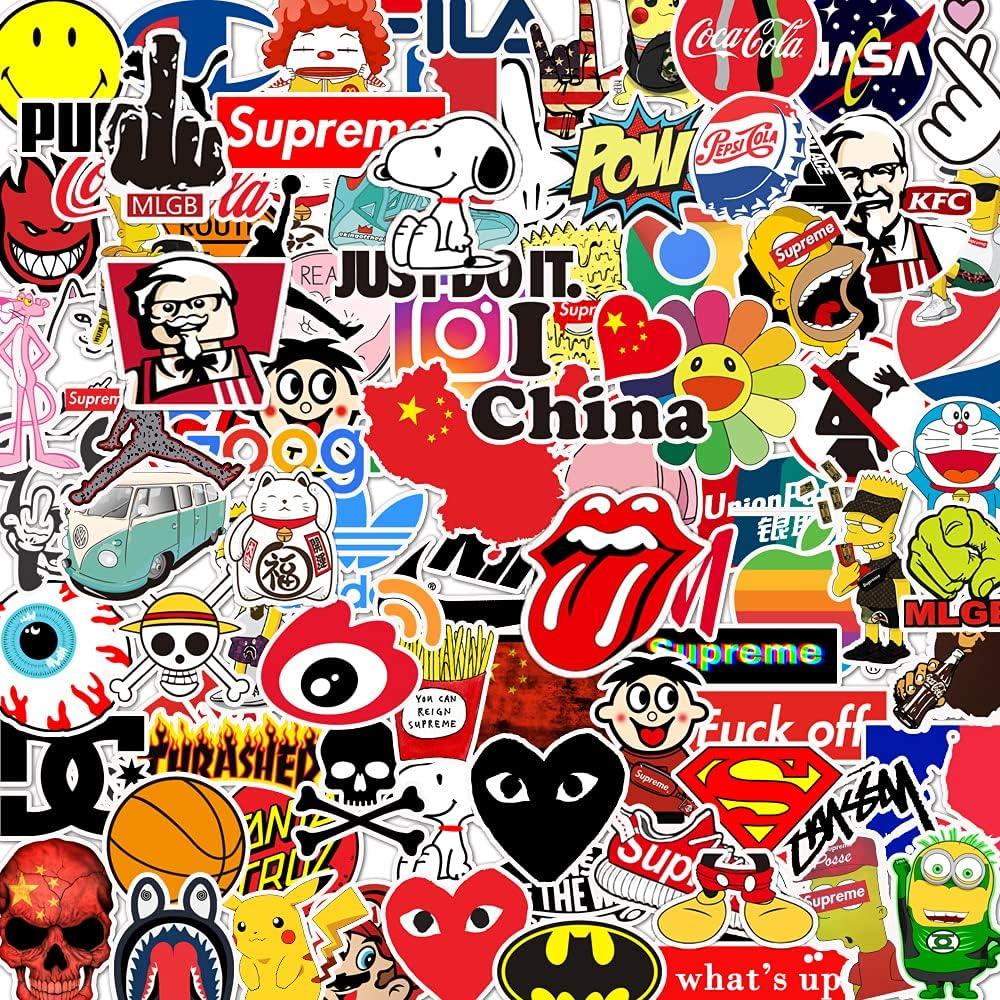GorQueen 100pcs Fashion Brand Stickers Gifts for Kids Teens Travel Case Sticker Skateboard Guitar Door Car Window Laptop Phone Luggage Bicycle Graffiti(Fashion Brand)
