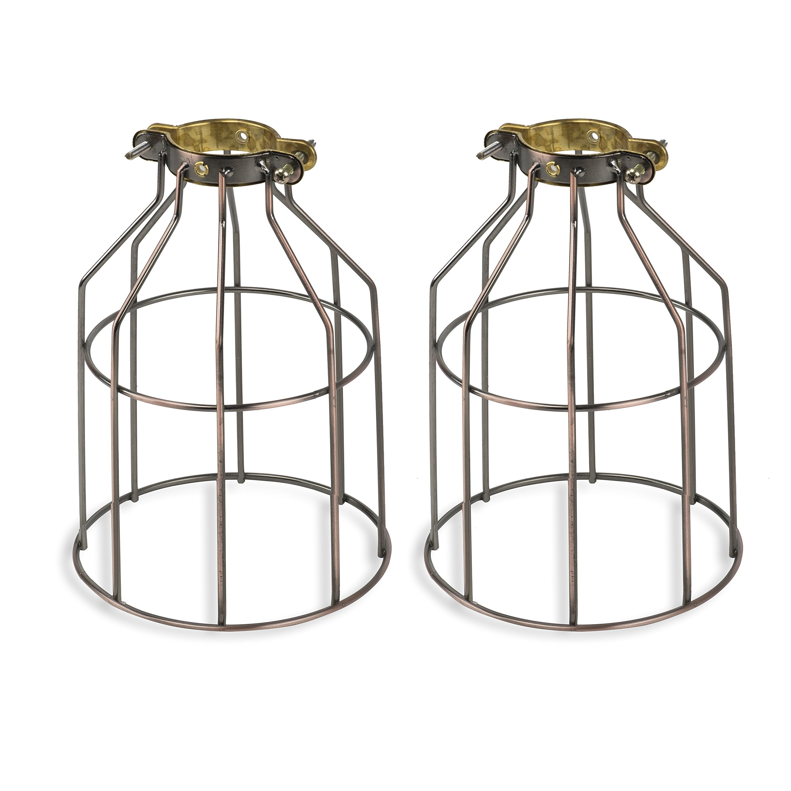 Set of 2 Industrial Vintage Style Top Light Cage for Pendant Light Lamps (Oil Robbed)