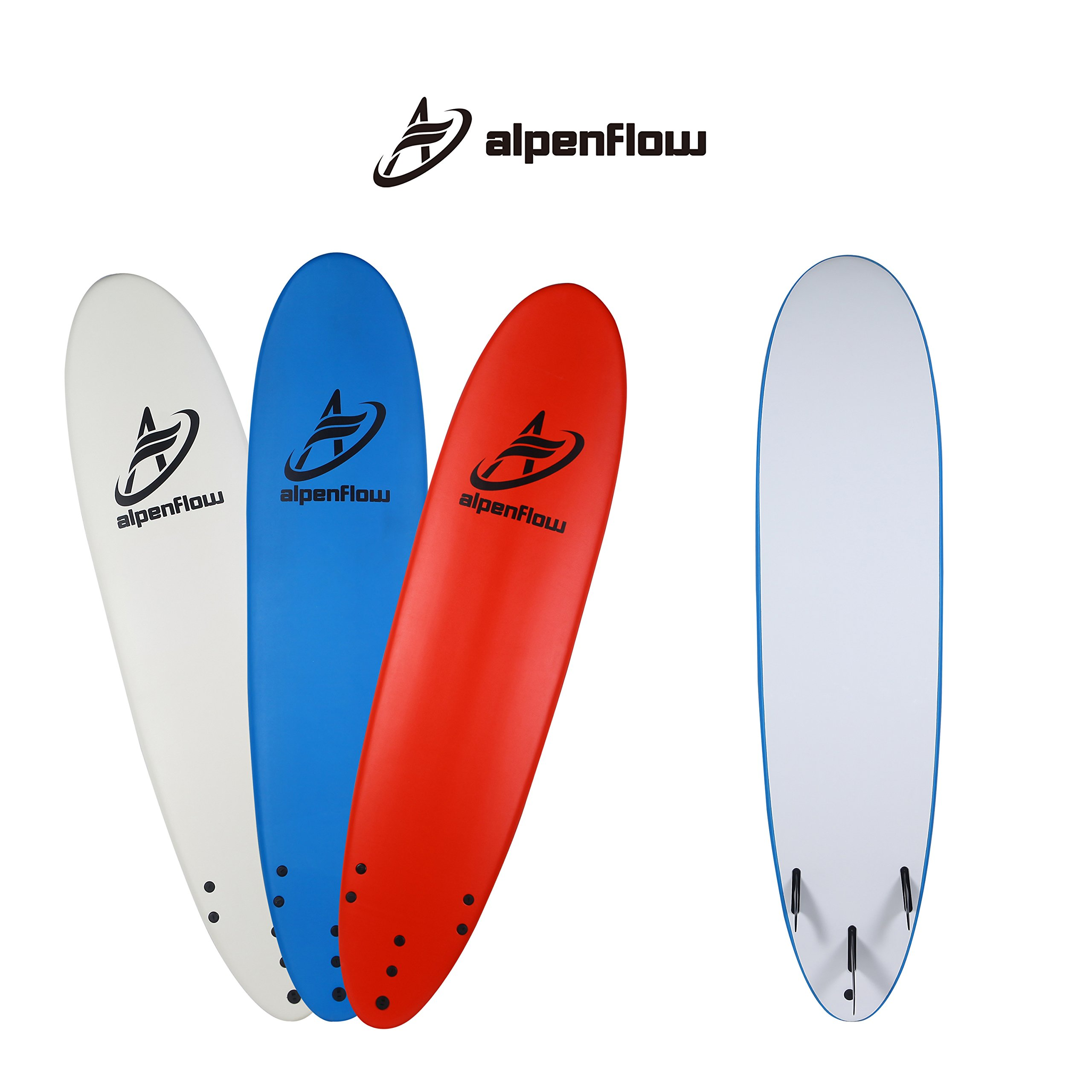 A ALPENFLOW 8' Soft Top Surfboard Foamie Surf Boards Surfing Board with Leash and Removable Fins, Blue