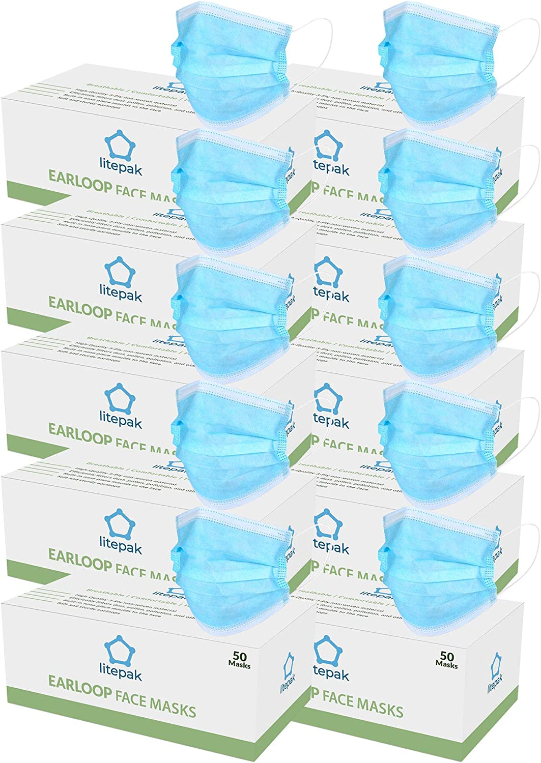 500pcs Litepak Disposable Face Mask Thickness Comfort Earloops Blue