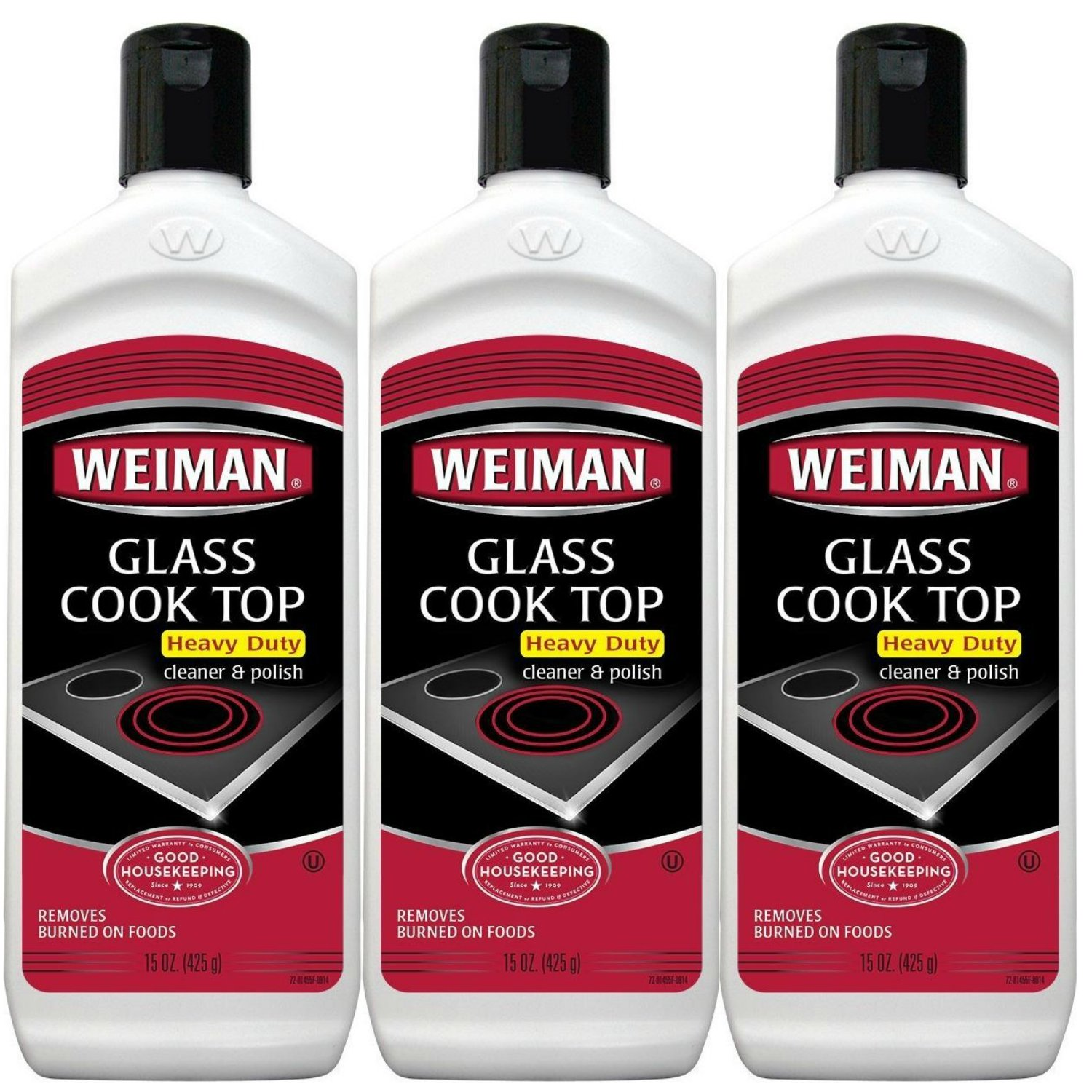 Weiman Glass Cooktop Heavy Duty Cleaner & Polish - Shines and Protects Glass/Ceramic Smooth Top Ranges with its Gentle Formula - 15 Oz, Pack of 3