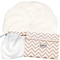 Reusable Nursing Pad Set - 10 Pack with 2 Pocket Wet Bag and Laundry Bag - Behå Baby - Bamboo, Super Soft, Absorbent, Washable, Hypoallergenic, Breathable, Eco-Friendly Breastfeeding Pads. 12cm Diameter.