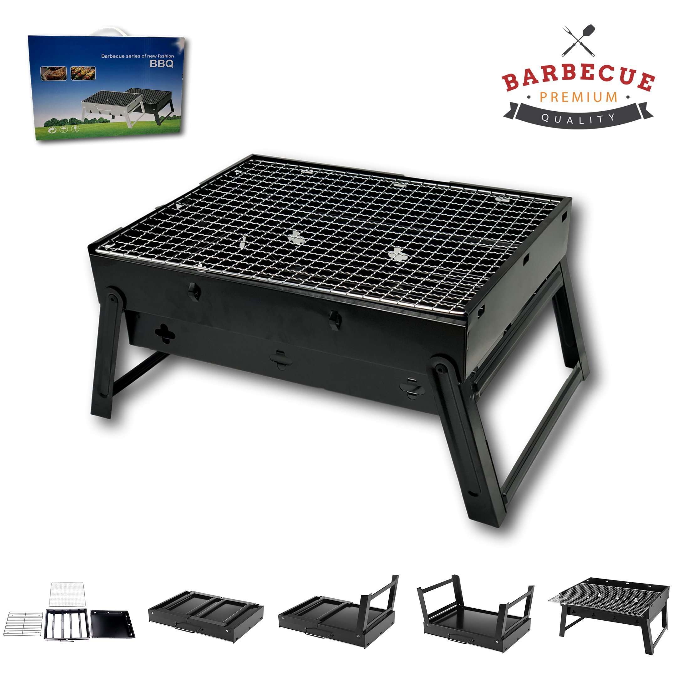 McWay Charcoal Barbeque Grill Foldable and Portable – Lightweight – Rust-Free- Easy to Set Up – For Outdoor Cooking (Small) by McWay
