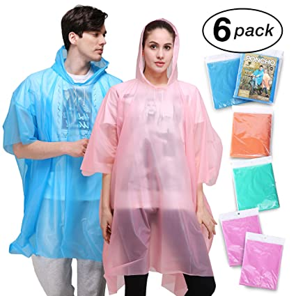Rain Poncho for Adults - 6 Pack of PEVA Tear Resistant Thick Ponchos for  Men or c26ce25ef9b2