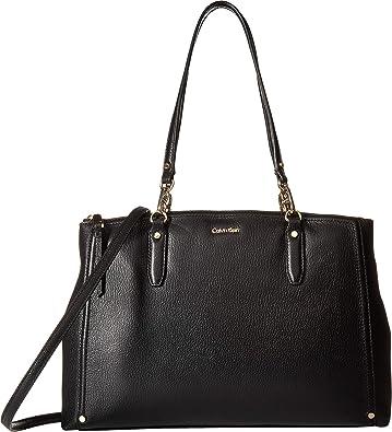 a82a92fbb7 Amazon.com: Calvin Klein Women's Goat Leather Satchel Black/Gold One Size:  Shoes