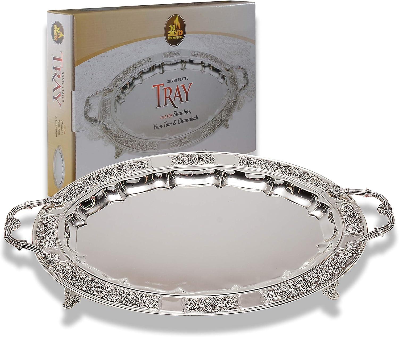 Silver Large 40cm Rectangle Elegant Serving Tray Handles Tea Tray Indian Italian