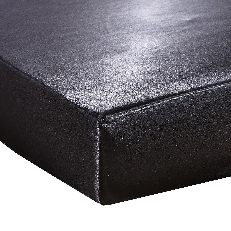 dushowフィットシート – 深いポケットサテンシルクベッドSeet、通気性ソフトで快適な – Wrinkle、フェード耐性と耐摩耗性 フル ブラック silkfittedsheets-full-Black B077P4QP2C ブラック フル
