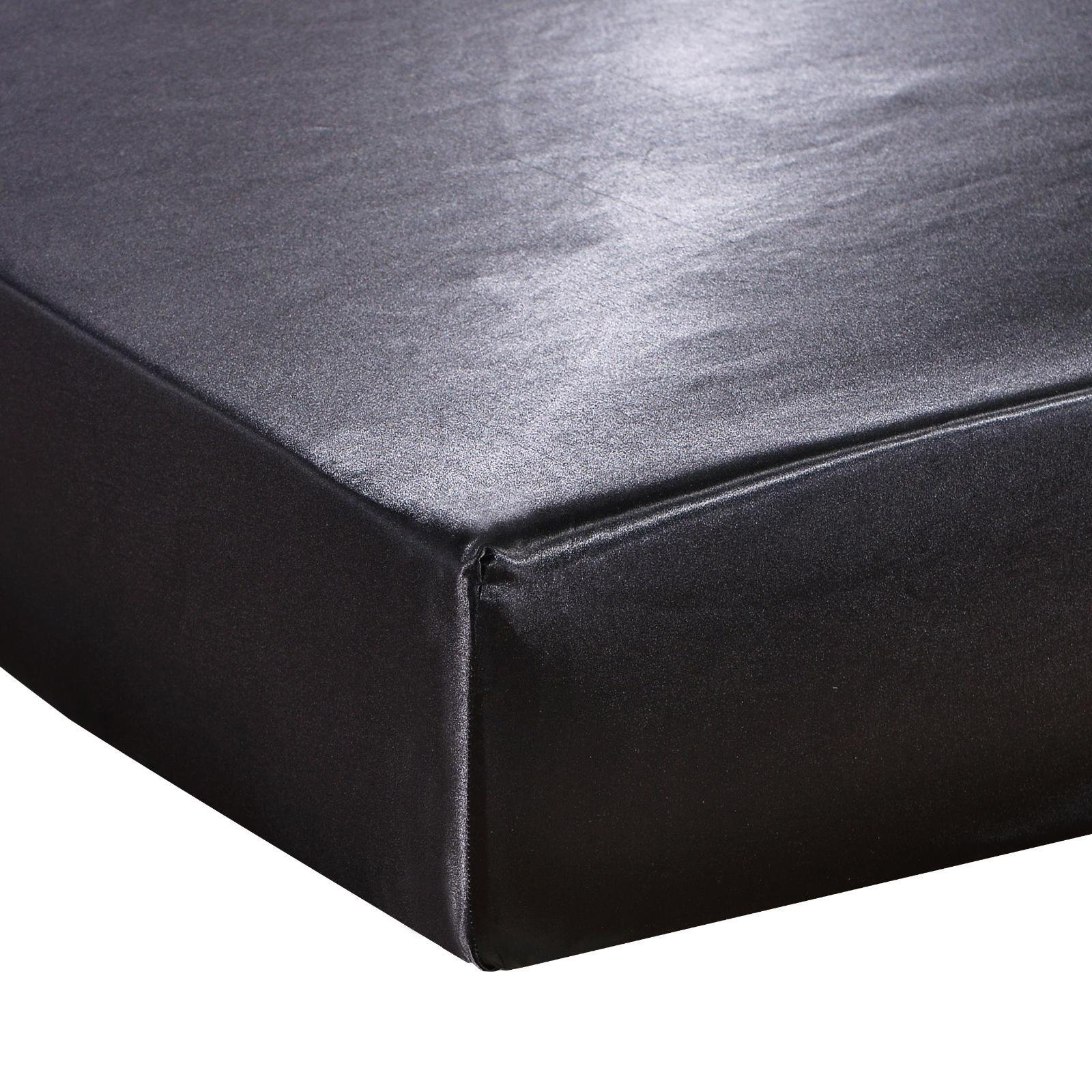 DuShow Fitted Sheet - Deep Pocket Satin Silk Bed Seet,Breathable Soft and Comfortable - Wrinkle, Fade, Stain and Abrasion Resistant(Full,Black)