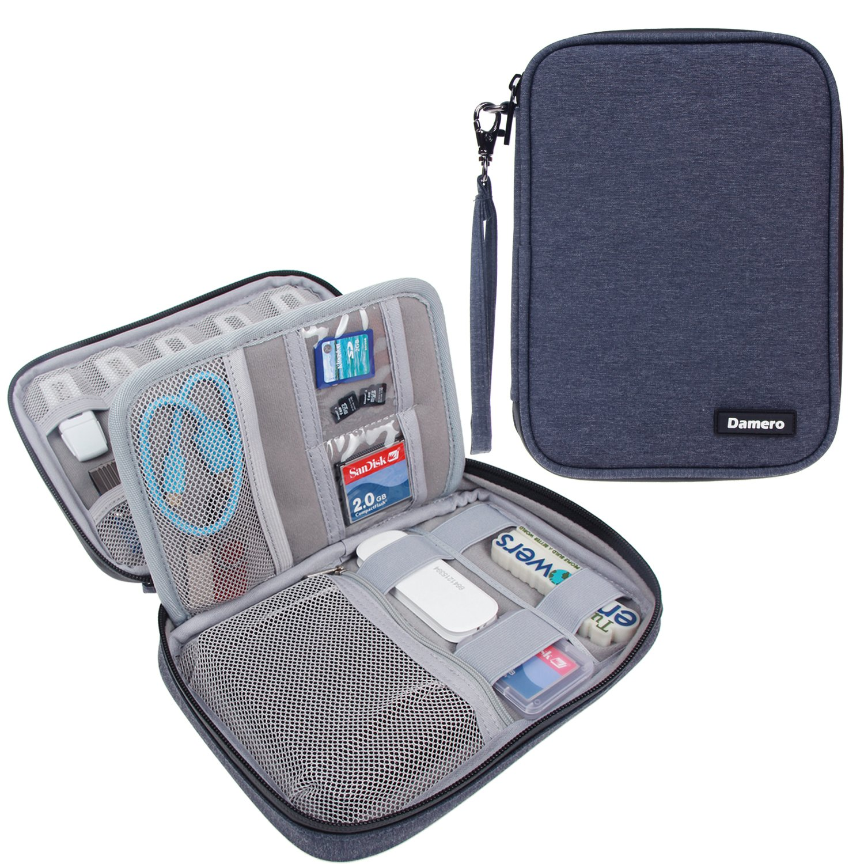 Damero USB Flash Drive Bag for SD Cards, Power Banks, Memory Cards/Waterproof External Hard Drive Case (Large, Dark Blue)