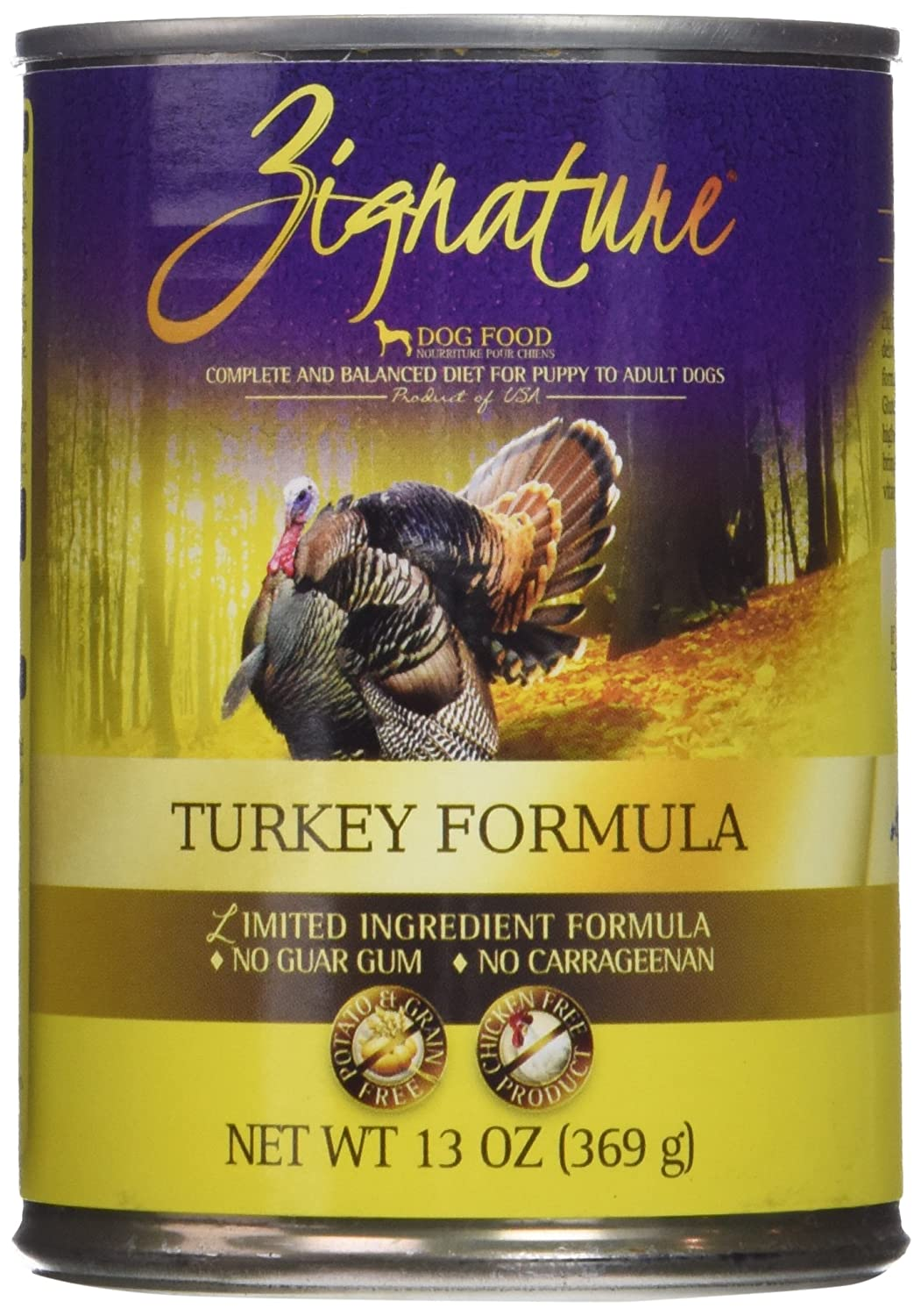 Zignature Turkey Formula Canned Dog Food, 13 Oz 12 Cans In A Case