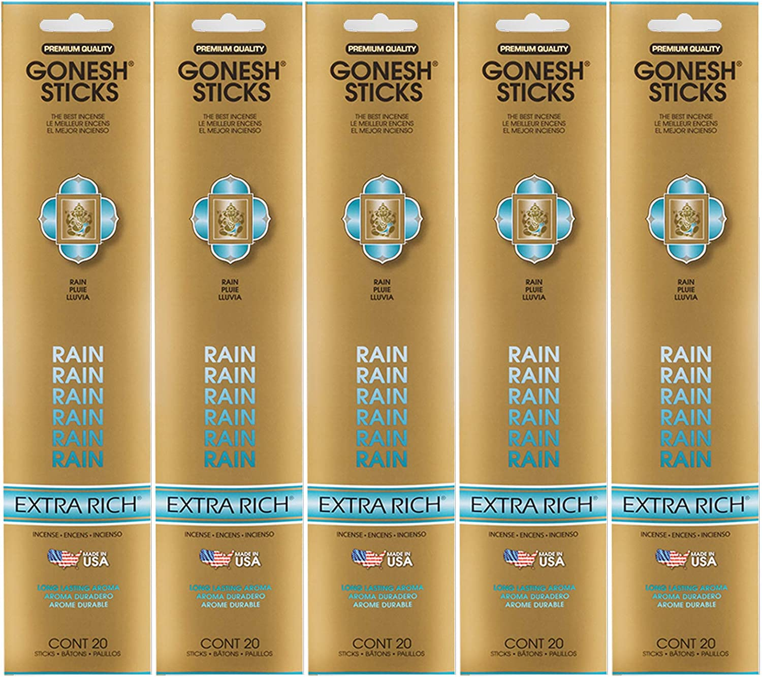 Gonesh Incense Sticks Extra Rich Collection - Rain 5 Packs (100 Total)
