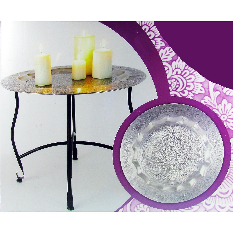 TLW Direkt 9056 Deko Tisch Orient Metall Silber 40 X 35