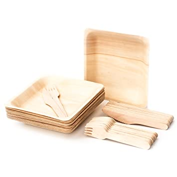 Disposable Bamboo Plates With Disposable Bamboo Cutlery Set 20 Pack Eco Friendly Biodegradable Compostable Disposable Wooden Plates With