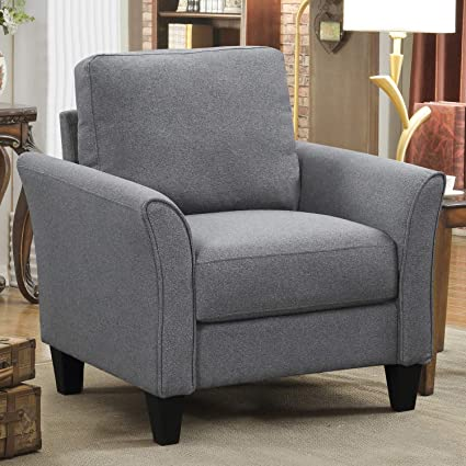 Harper&Bright Designs Living Room Sets Furniture Armrest Sofa Single Chair  Sofa Loveseat Chair 3-Seat Sofa (Single Sofa, Light Grey)