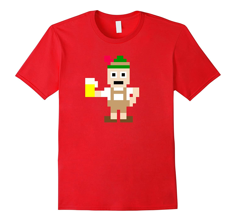 8-Bit In Lederhosen With Beer Oktoberfest T-Shirt-FL