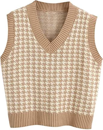 Pata de Gallo Chaleco de Punto Mujer,Suéter con Cuello en V Suéter Sin Mangas Suelto Chaleco Tops,Suéter Elegantes Vintage Jersey Woolen Top College Style