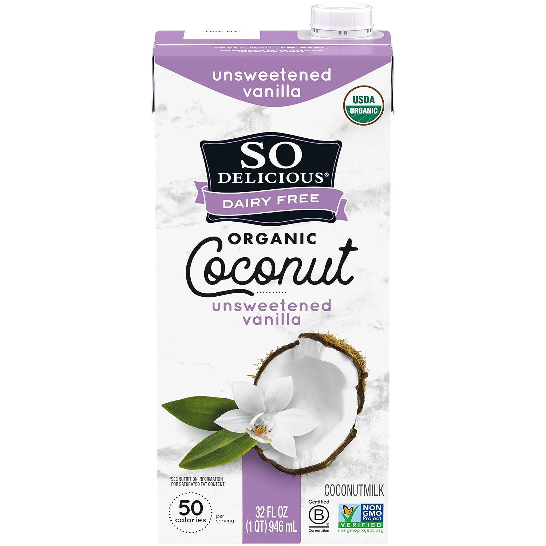 So Delicious Dairy Free Shelf-Stable Coconutmilk, Unsweetened, Vanilla, Vegan, Non-GMO Project Verified, 1 Quart