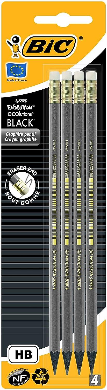 BIC Bleistift ECOlution Evolution – Bleistifte Set Silber – Ergonomischer Stift mit bruchsicherer Mine – Holzfreie, dünne Stifte – 12 Bleistifte mit Radiergummi 918484