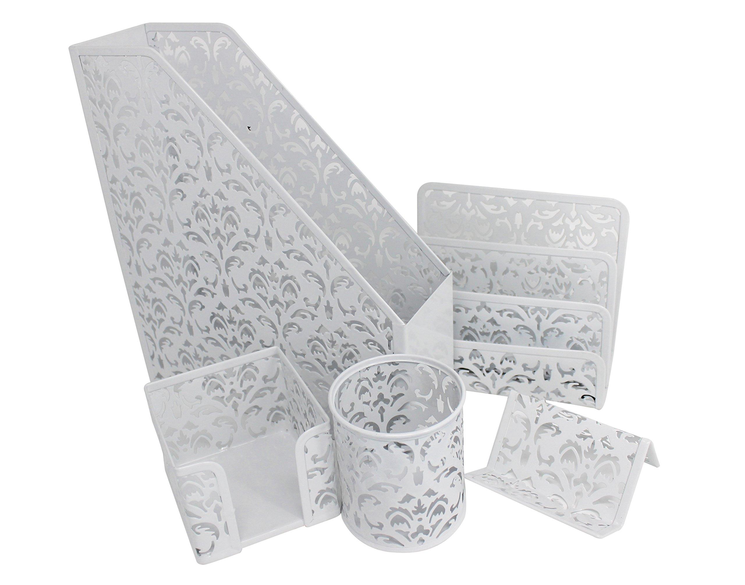 Desktop Organizer Set - 5pcs Office Supplies | Metal Mesh File, Pen, and Business Card Holder, Letter Sorter, Sticky Note Memo Pad Desk Accessories | Hollow Flower Pattern - White