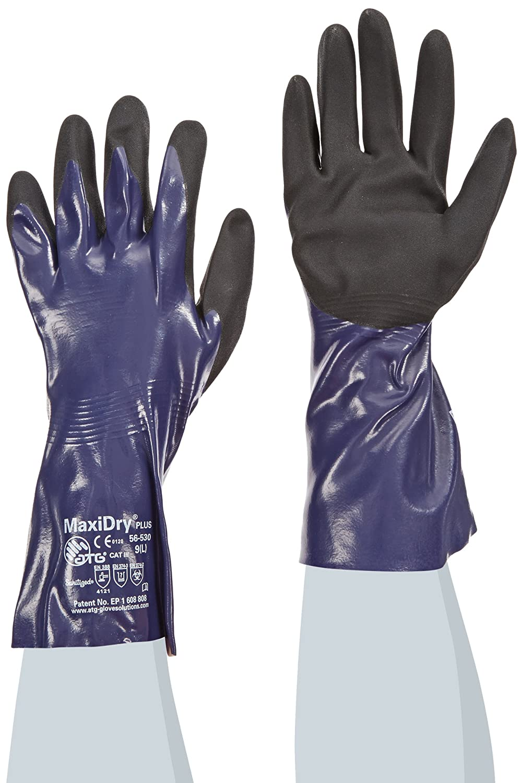 ATG 56-530/L MaxiDry Plus Ultra Lightweight Nitrile Gloves with Gauntlet Cuff, Blue/Black, Large, 1-Dozen by ATG B009KZTR50