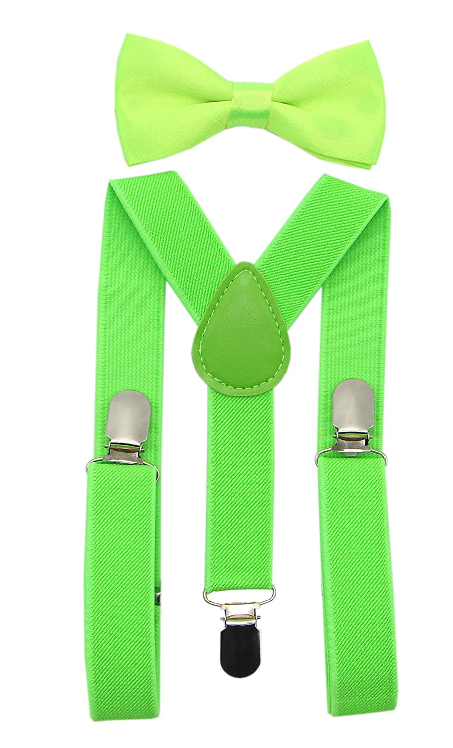 JAIFEI Suspender&Bow Tie Set-Adjustable Strong Clip-on Suspender for Boys&Girls (Kelly) Boys Suspender 2 Set Kelly CA