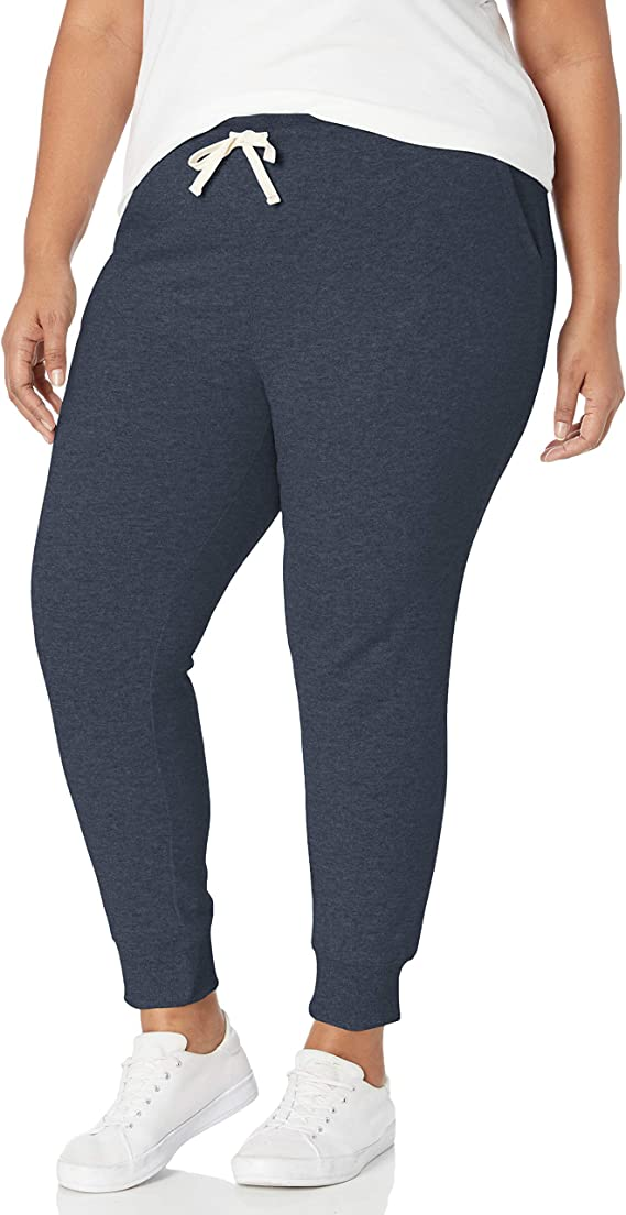 Amazon Essentials Women's Plus Size French Terry Fleece Jogger Sweatpant, Navy Heather, 2X best women's joggers