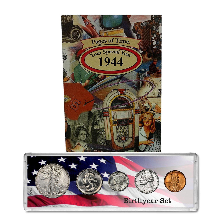1944 Year Coin Set & Greeting Card : 75th Birthday Gift - Birthyear Set