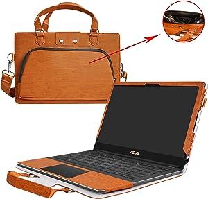 "Asus Q534UX Q504UA Q524UQ Case,2 in 1 Accurately Designed Protective PU Leather Cover + Portable Carrying Bag for 15.6"" Asus Q534UX Q504UA Q524UQ Series Laptop,Brown"
