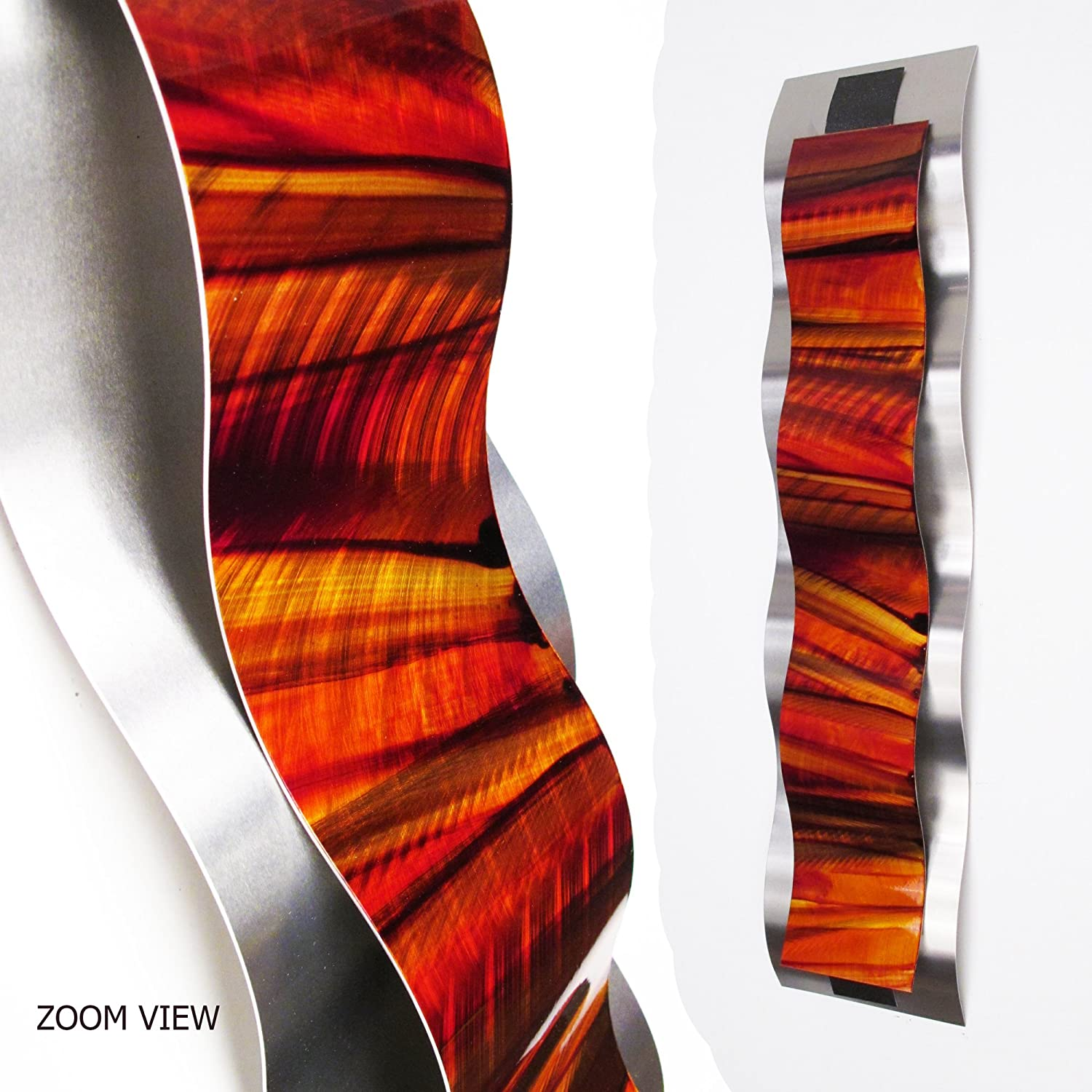 amazoncom rhythmic curves red orange modern abstract metal  - amazoncom rhythmic curves red orange modern abstract metal wall artsculpture painting home decor home  kitchen