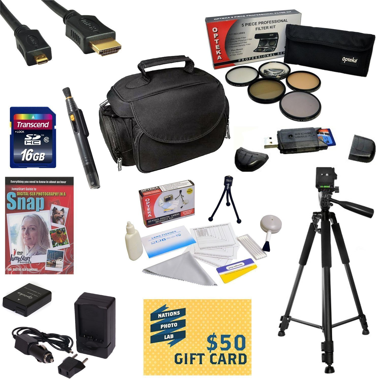 47th Street Photo Best Value Accessory Kit For the Nikon D40, D40X, D60, D3000, D5000 - Kit Includes 16GB High-Speed SDHC Card + Card Reader + Extra Battery + Travel Charger + 52MM 5 Piece Pro Filter Kit (UV, CPL, FL, ND4 and 10x Macro Lens) + HDMI Cable