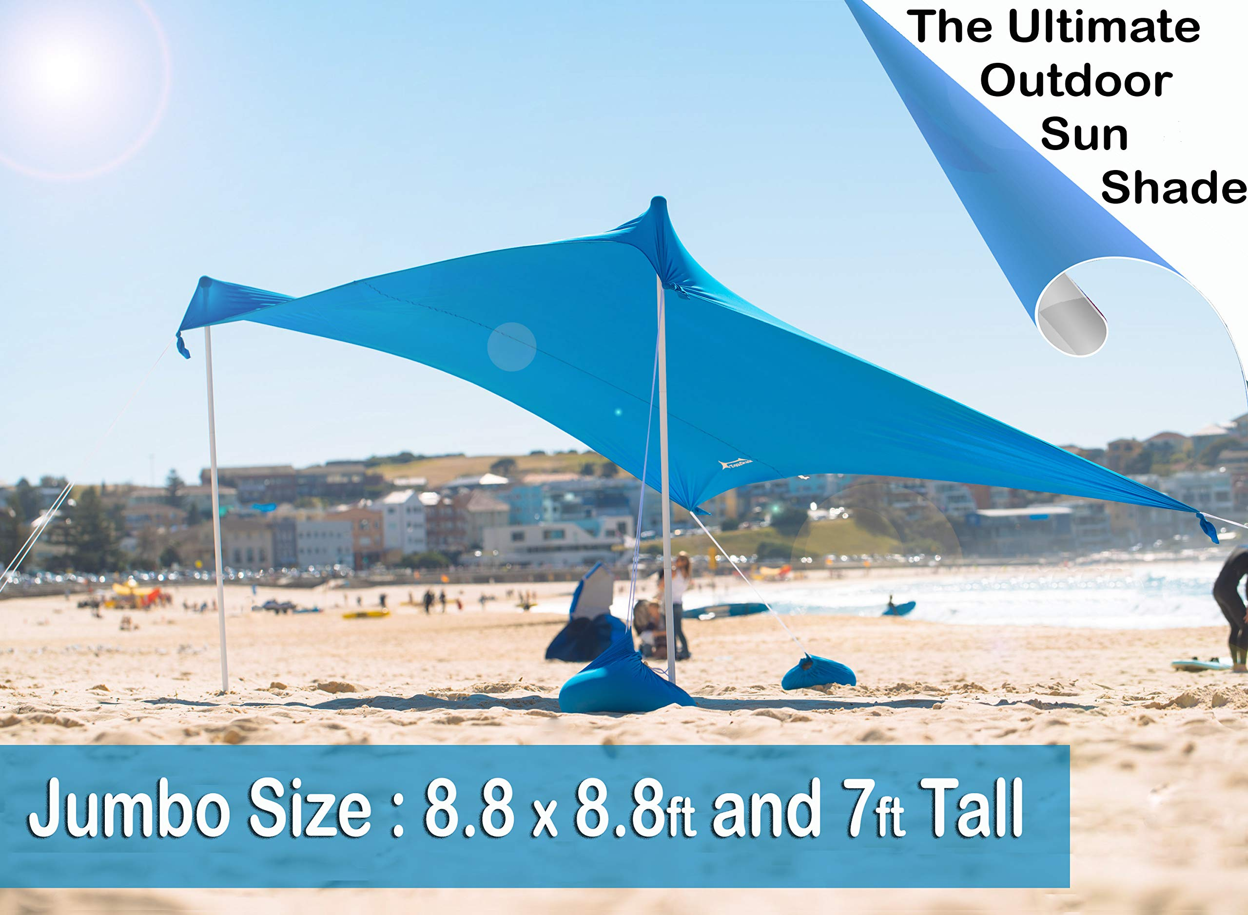 ZiggyShade Jumbo Beach Sunshade - Beach Tent + Sandbag Anchors & 4 Free Pegs - UPF50+ Quality Lycra Fabric - Perfect Sun Shelter for Kids & Family at The Beach, Parks, Camping & Outdoors (Sky Blue) by ZiggyShade