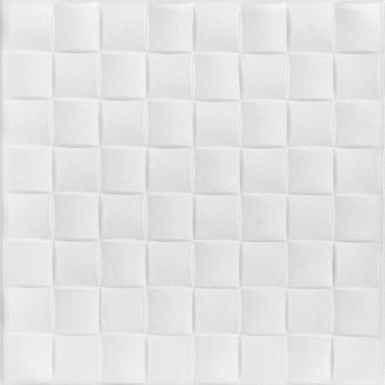 A la Maison Ceilings 816 Cobblestone - Styrofoam Ceiling Tile (Package Of 8 Tiles), Plain White Decorative Ceiling Tiles Inc.