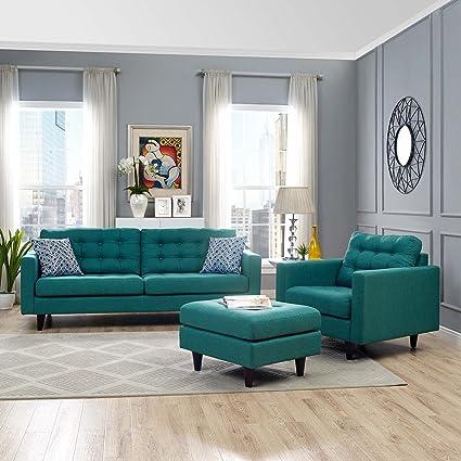 Modway EEI 1313 TEA Empress Armchair And Sofa Upholstered Fabric Set Of 2,