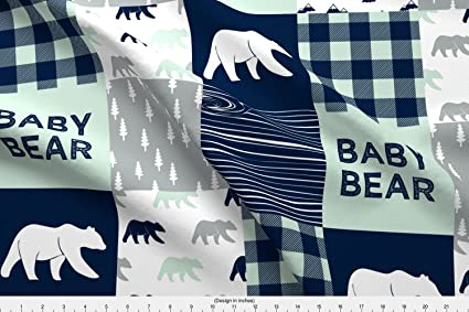 f06aa2181 Amazon.com  Spoonflower Bear Fabric - Bear Baby Bear Plaid Mint Navy ...