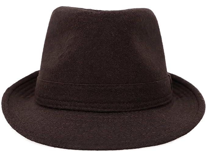 04500c335f8 Amazon.com  Apollo Unisex Fedora Hats for Men Women Wool Blend Manhattan Fedora  Hat