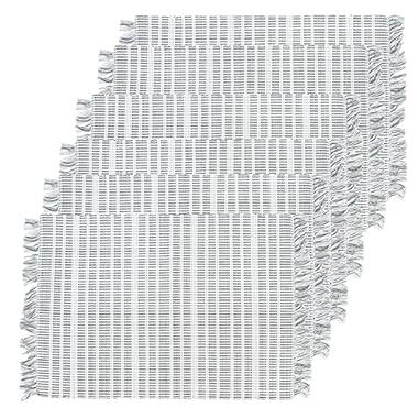 C&F Home Harris Stripe Gray Cotton Placemat Set of 6 Rectangular Placemat Set of 6 Gray