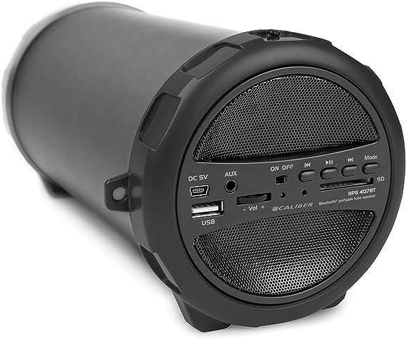 Caliber Hpg407bt Portable Bluetooth Lautsprecher Mit Ukw Radio Sd Usb Aux In 3 5mm Schwarz Audio Hifi