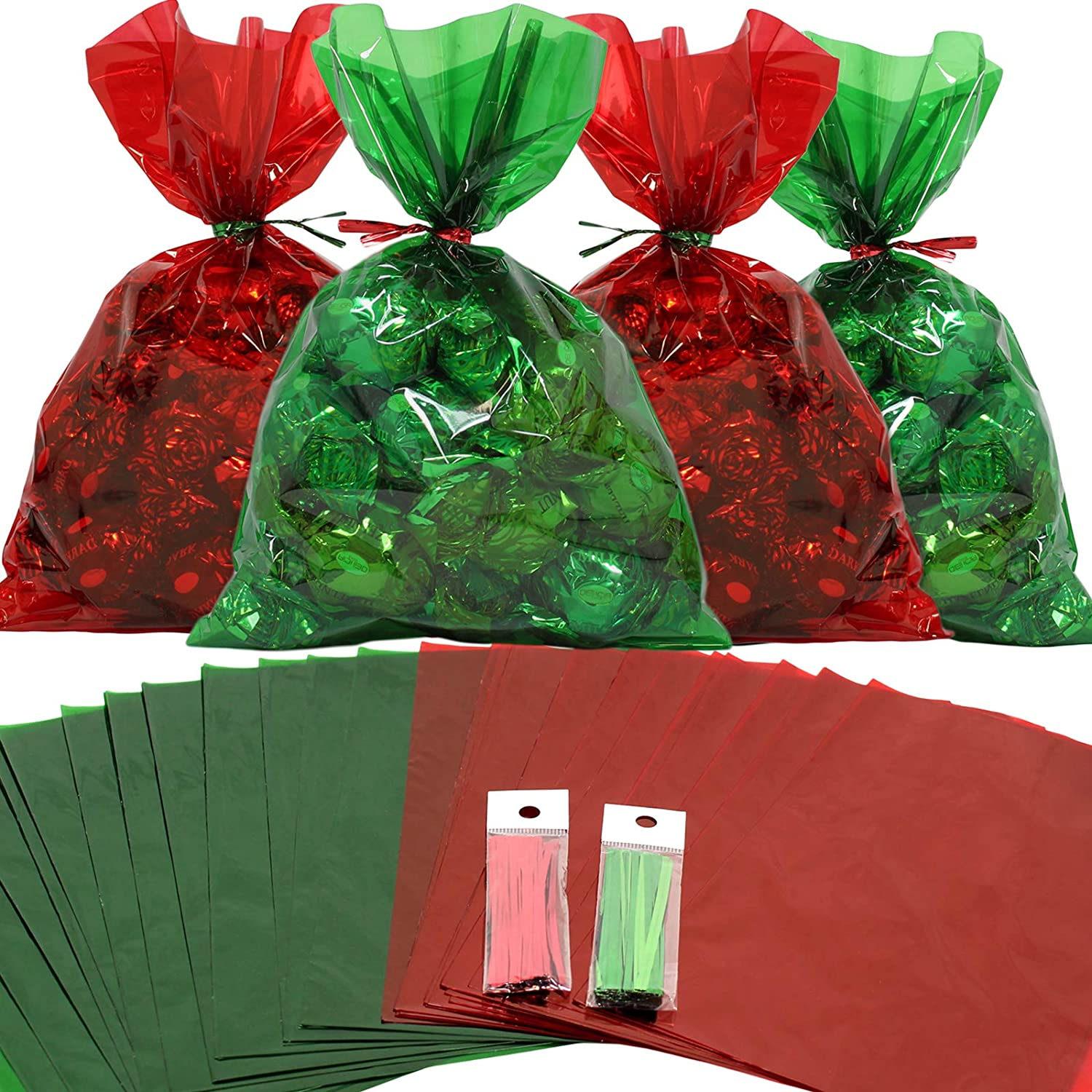 Cellophane Treat Bags 100 pcs Mix Holiday Colors (6 Inch x 9 Inch) | Colorful Cello Bags Christmas Colors with Twist Ties | 2.5 Mil Quality Green & Red Cellophane Treat Bags | Transparent 6x9 in Bags