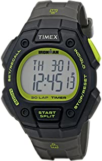 Timex Mens T5K824 Ironman Classic 30 Full-Size Gray/Black/Green Resin Strap
