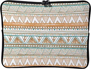 Laptop Sleeve Bag Notebook Computer PC Neoprene Protection Zipper Case Cover Colorful Aztec Pattern Orange Ethnic White-color1 12inch