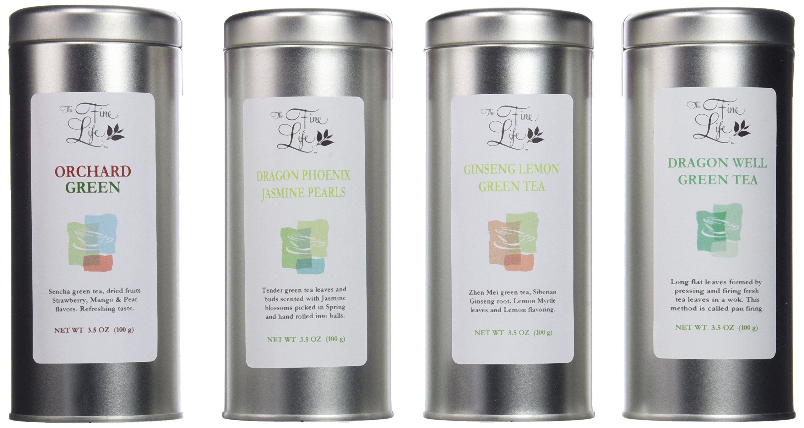 Gourmet Loose Leaf Teas 4-flavor Selection 14oz (Green) by The Fine Life