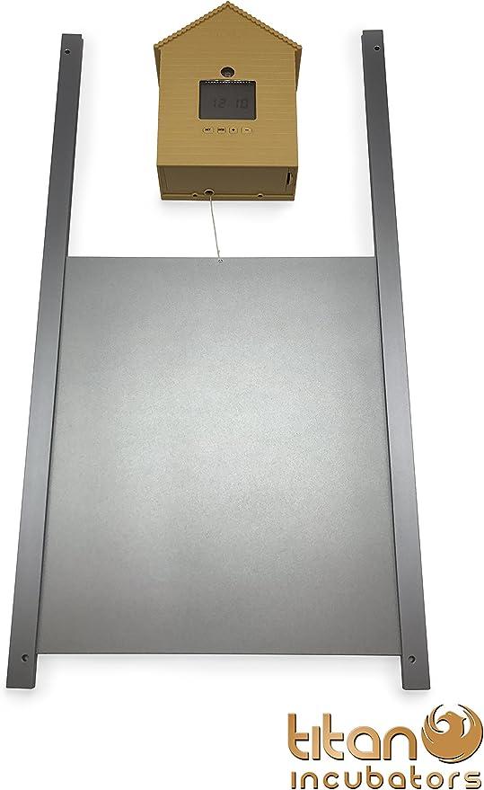 Abrepuertas automático para gallinero con sensor luminoso con temporizador Y puerta metálica: Amazon.es: Jardín
