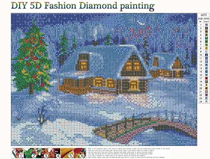 MXJSUA 5D DIY Diamond Painting Kit by Number Full Drill Round Beads Crystal Rhinestone Embroidery Cross Stitch Picture Supplies Arts Craft Wall Sticker Decor 12x16In Snow City
