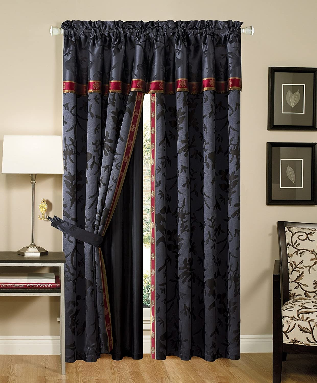 Exceptional Amazon.com: Chezmoi Collection 4 Piece Palace Jacquard Window Curtain/Drape  Set With Sheer Backing, Black/Gold/Red: Home U0026 Kitchen
