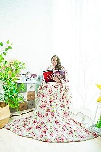 Alcea Rosea TV Blanket Shu Velveteen Soft Plush Big Size Blanket with Sleeves and Back feet Pocket,Cozy,Functional,Lightweight Wearable Throw Robe for Adult,Women Men-79'' x 60'' (Rose White)