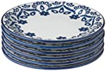 1 Conjunto com 6 Pratos de Sobremesa Oxford Daily Floreal Energy Branco/Azul 20 Cm