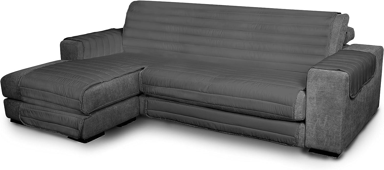 Italian Bed Linen Elegant - Funda Protectora para Sofá Chaise Longue Izquierdo, Microfibra, Gris oscuro, Medida del asiento 190 cm + cubre brazos laterales